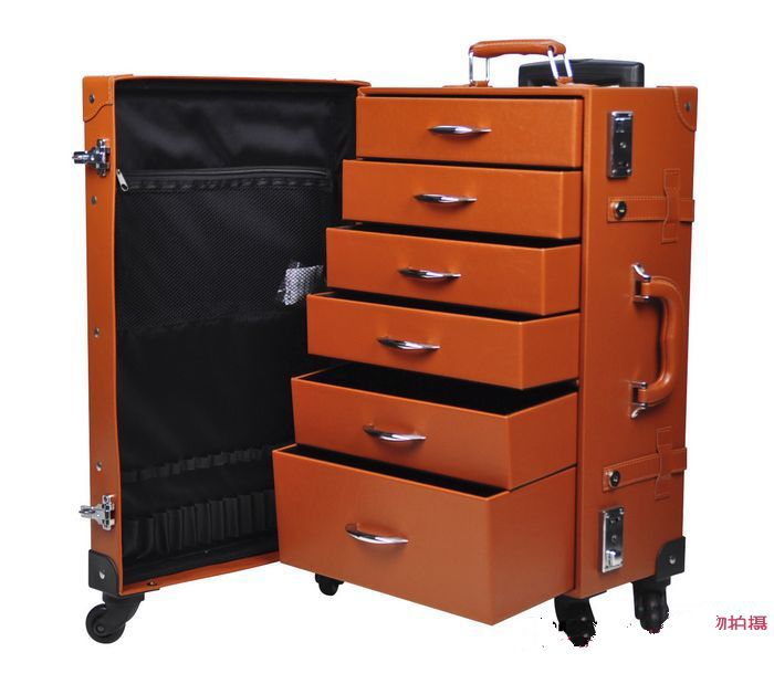 Free shipping Vintage Retro makeup box luggage trolley-in Rolling ...