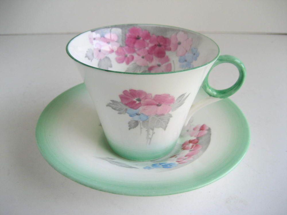 Vintage Shelley Art Deco Phlox Fine China Tea Cup & Saucer