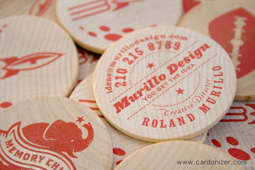 Round wooden circular business card made from 2 wood designed by round wooden circular business card made from 2 wood designed by murillo design reheart Choice Image