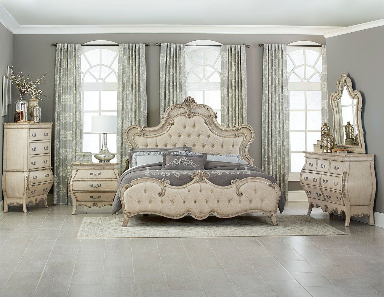Elsmere 4pcs Traditional Antique Grey Button Tufted King Bedroom Set Antique White Bedroom Furniture Upholstered Bedroom Set Bedroom Sets