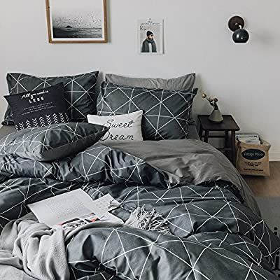 Photo of HIGHBUY Premium Cotton Full Bedding Sets Grey Comforter Cover Set Queen Duvet Cover for Boys Men Geometric Plaid Duvet Cover Full 3 Pieces Full Queen Bedding Collection,Lightweight