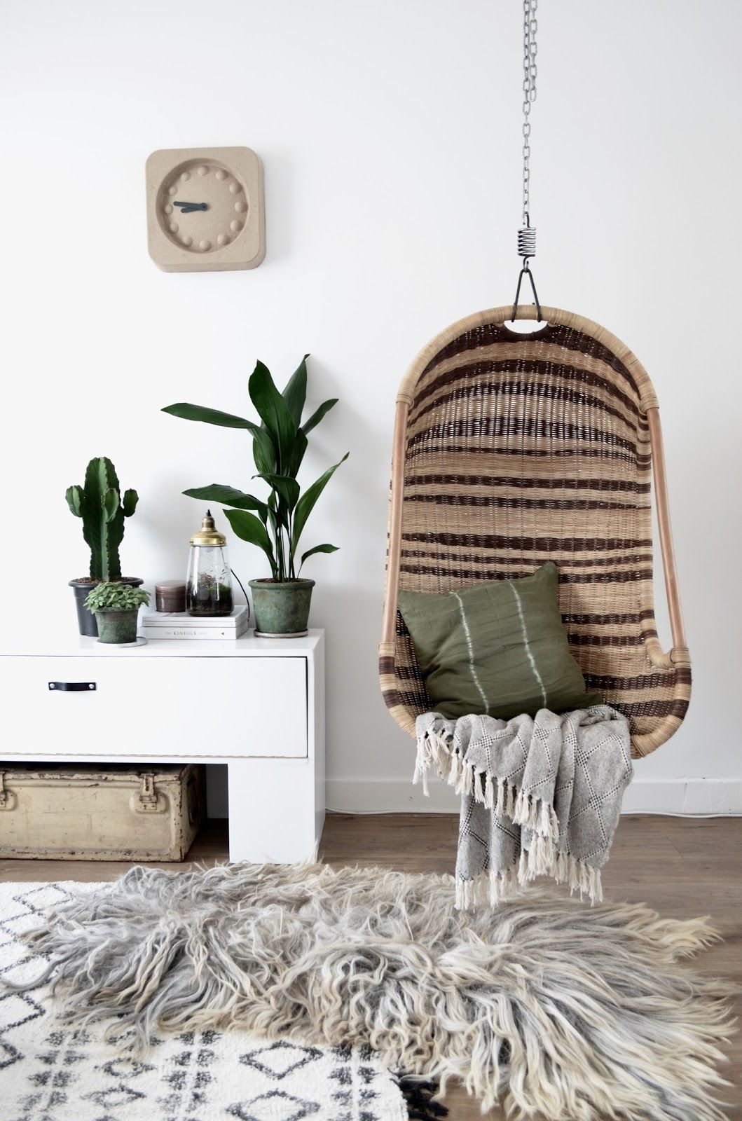 Hanging rattan chair, living room, simple minimalist