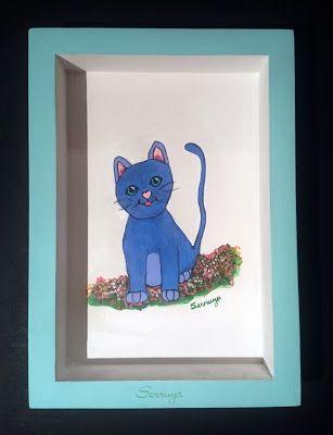 Diseñopropio #cuadroinfantil #pintadoamano #Gato azul ...