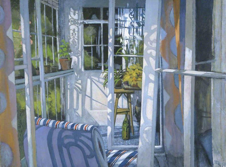 "huariqueje: ""  The Enclosed Balcony - John Elwyn , 1980 British, 1916–1997 acrylic on canvas , 76.4 x 102 cm """