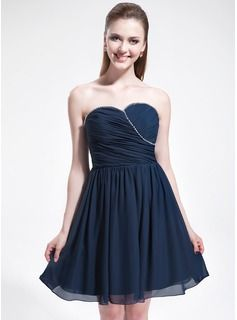 Bridesmaid Dresses - $114.99 - A-Line/Princess Sweetheart Knee-Length Chiffon Bridesmaid Dress With Ruffle Beading  http://www.dressfirst.com/A-Line-Princess-Sweetheart-Knee-Length-Chiffon-Bridesmaid-Dress-With-Ruffle-Beading-007025371-g25371