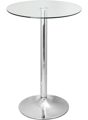 Vetoroly Tall Round Glass Poseur Kitchen Bar Table Chrome Frame 80cm Round  Top Or 60cm