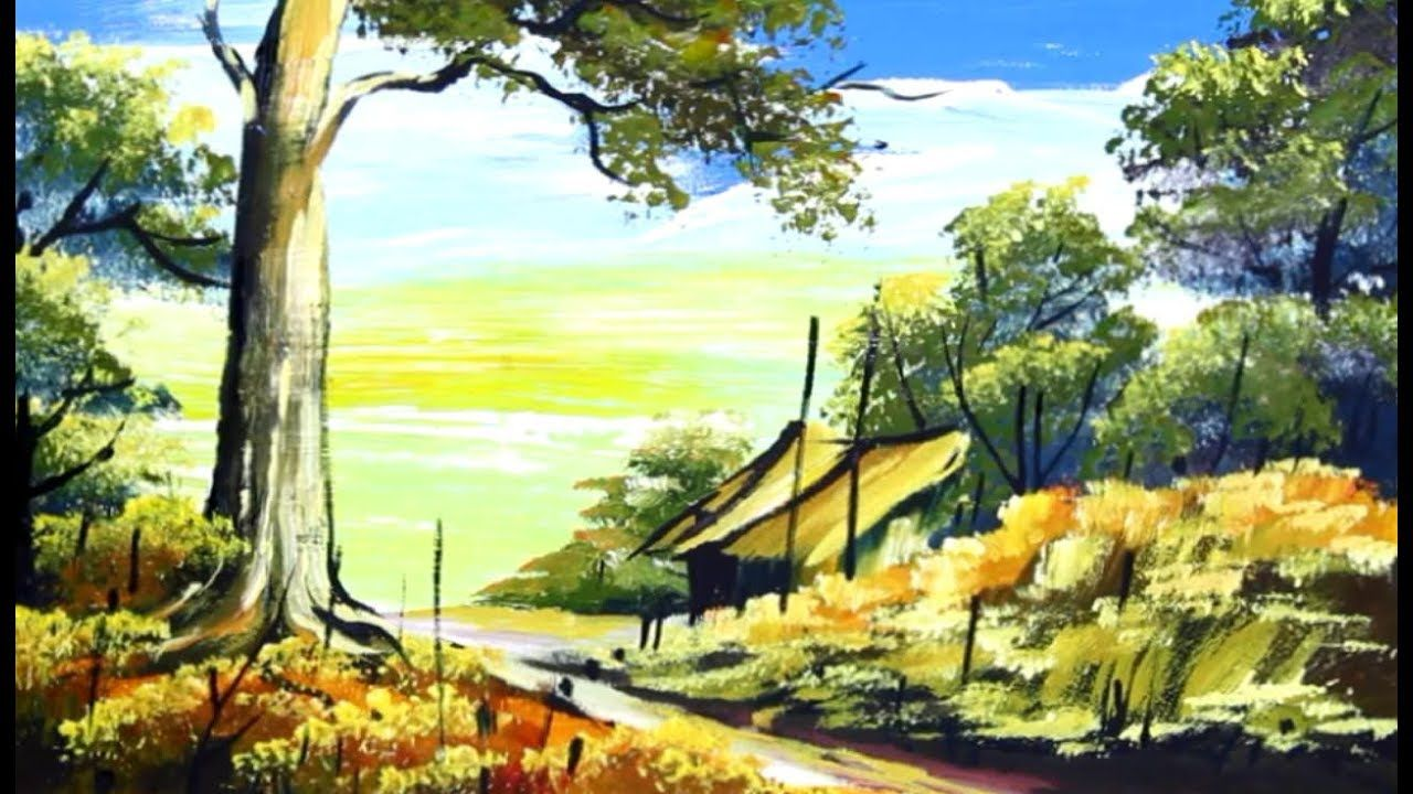 Village Scenery Drawing House Painting Acrylic Landscape Tutorial Landscape Paintings Acrylic Abstract Painting Painting