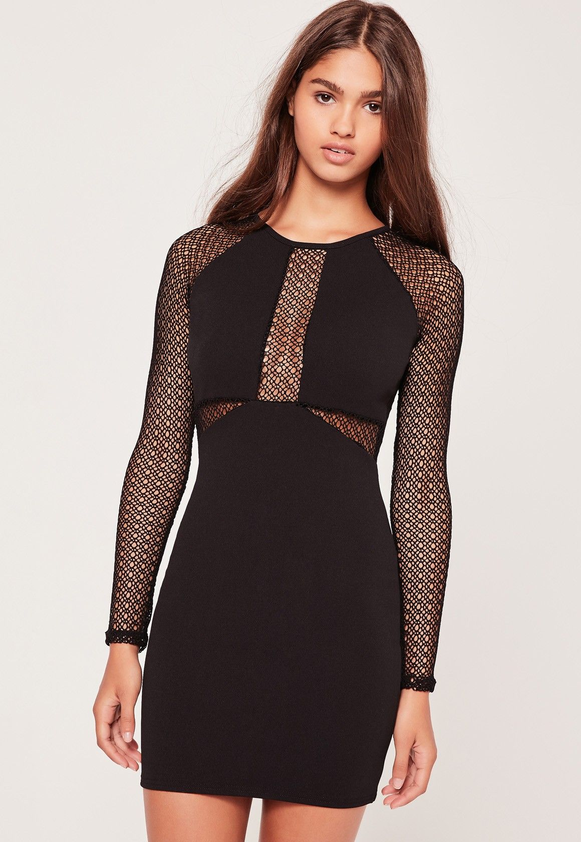 756f2253dea2 Missguided - Long Sleeve Fishnet Panel Bodycon Dress Black | Ladies ...