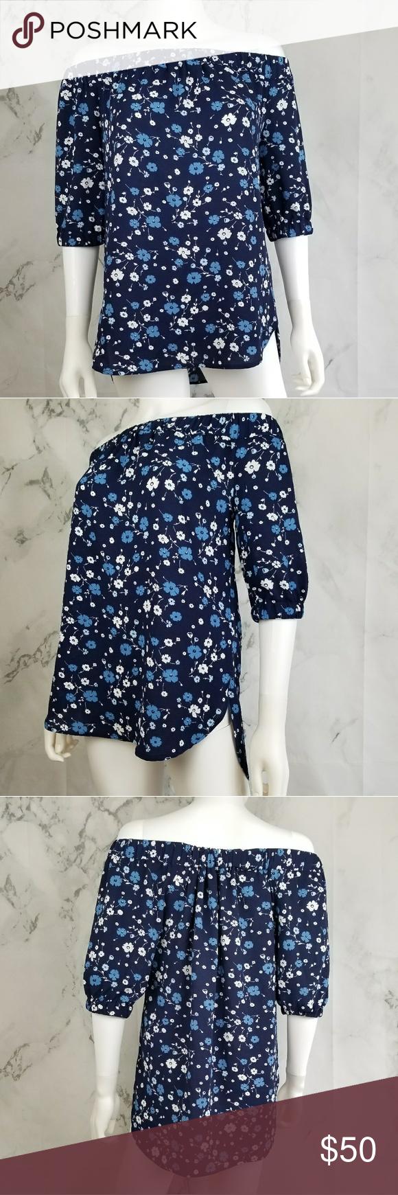 21f21ddf96861 NWOT Michael Kors off shoulder blueberry blouse Floral print off shoulder  blouse. 98% polyester 2% elastane Michael Kors Tops Blouses