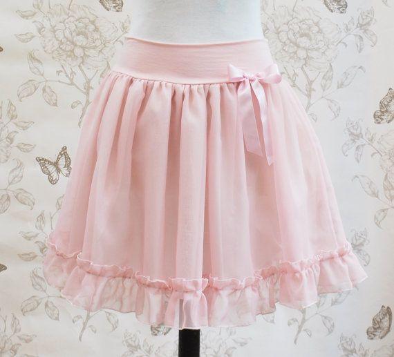 Light pink ruffles chiffon  skirt retro by Thebatinthehat on Etsy, €36.00