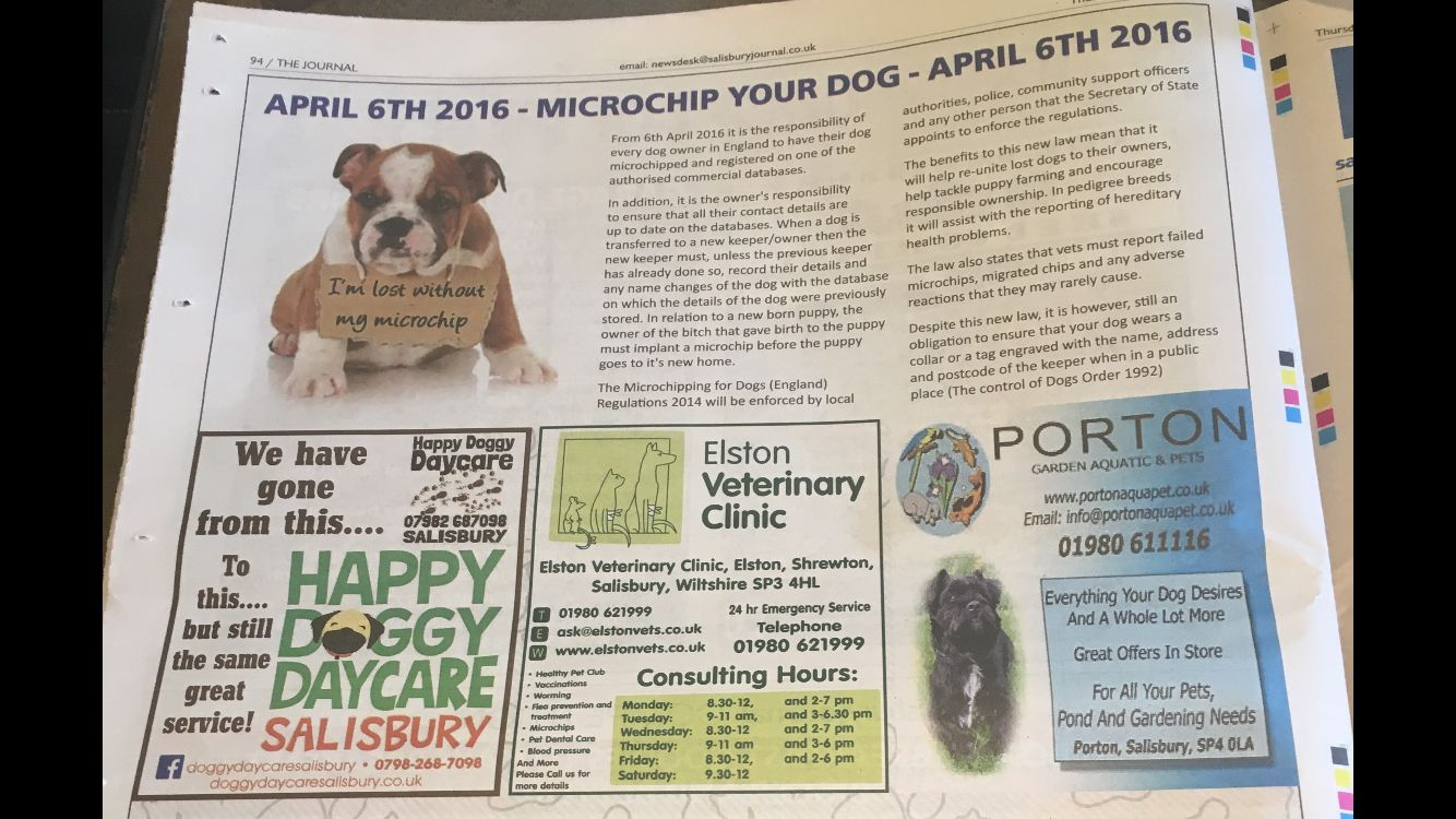 Check out the article in this weeks Salisbury Journal about the new law on microchipping your dog by the 6th April 2016.  Get in contact with your vet for more information. #salisburyjournal #microchipping #dog