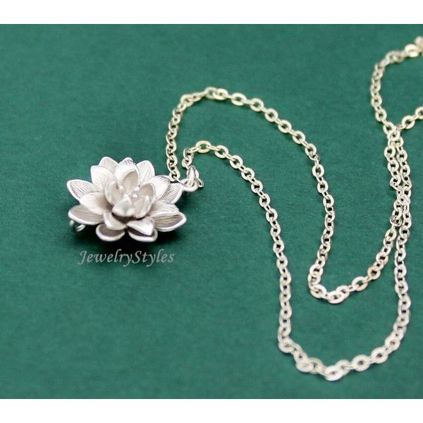Lotus necklace silver flower necklace sterling silver chain 23 lotus necklace silver flower necklace sterling silver chain this beautiful silver plated lotus blossom hangs gracefully from a dainty 16 inch mightylinksfo