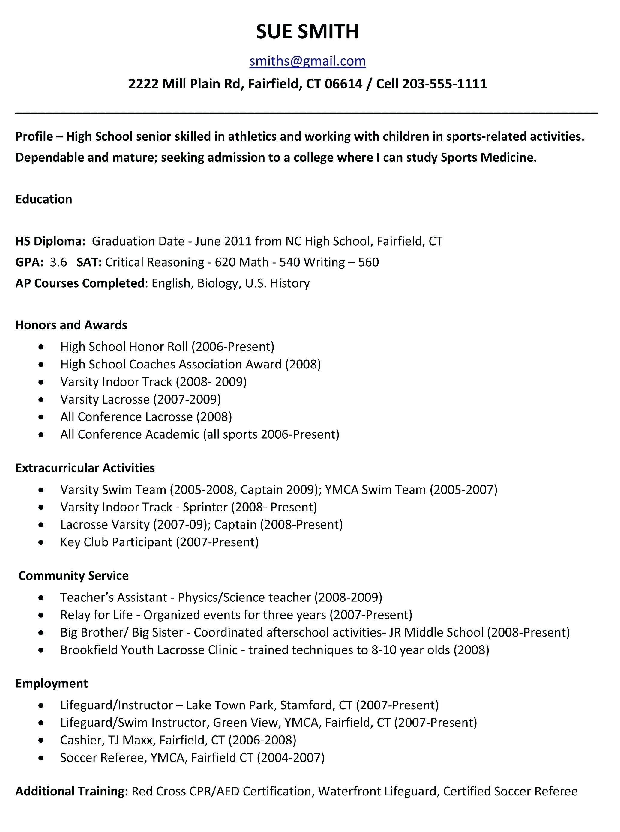 Student Resume Examples And Templates High School Resume Template College Application Resume High School Resume Resume template for college students
