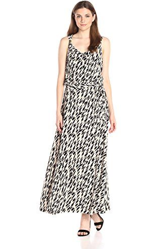 Calvin Klein Women S Printed Maxi Dress W Hardware Black Latte