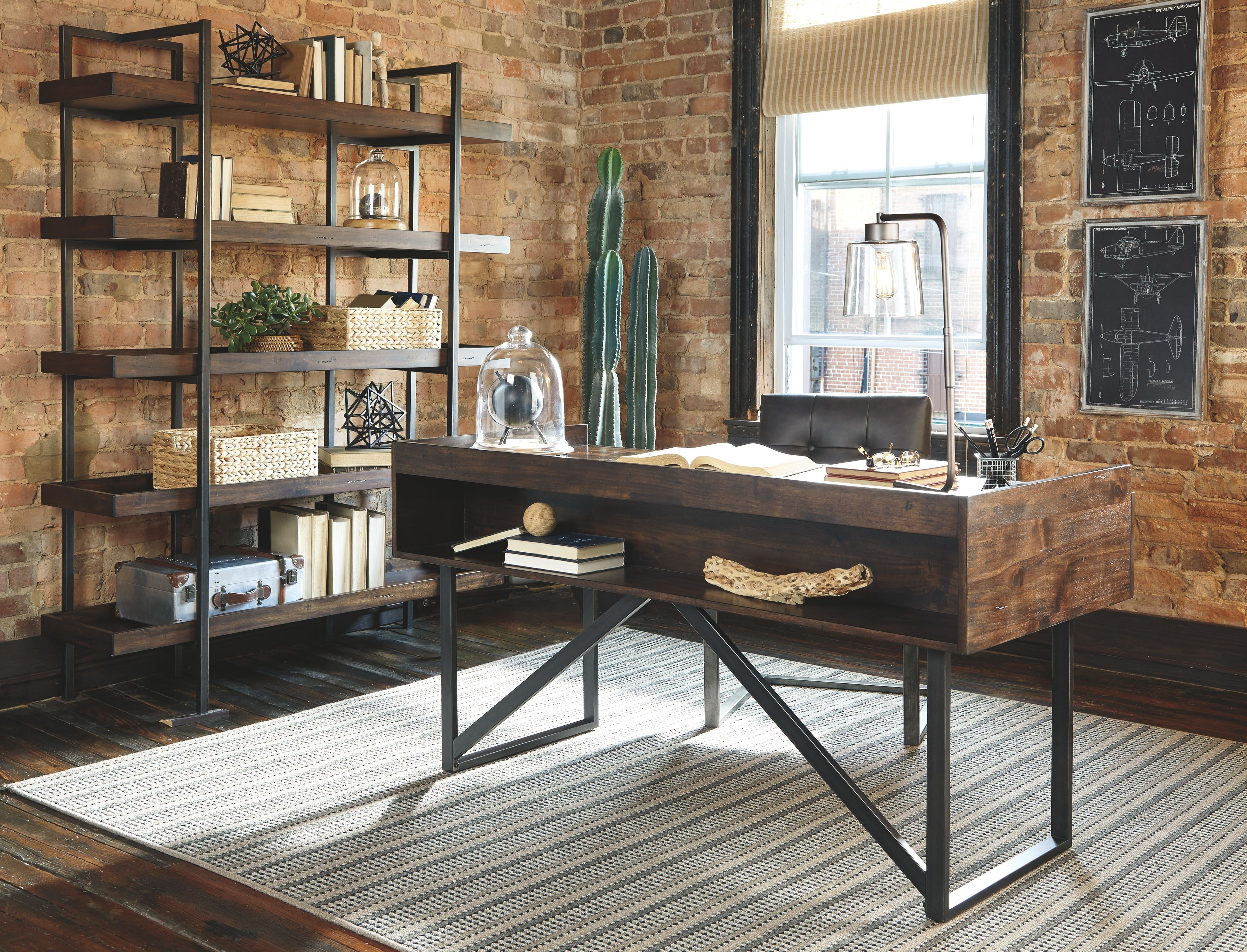 Starmore Modern Rustic Industrial Home Office Desk With Steel Base