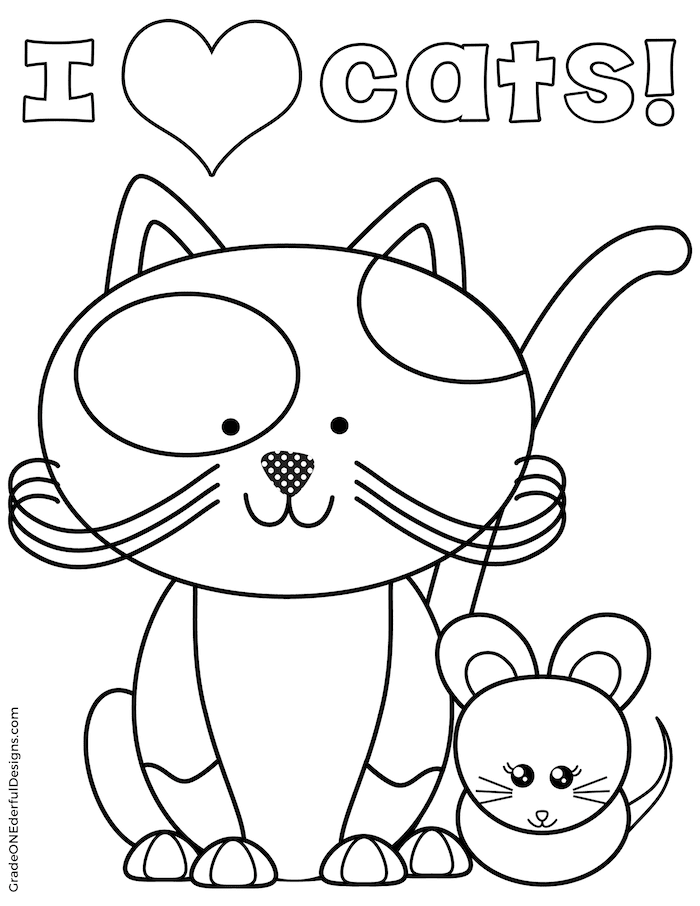 Free Cat Coloring Page | Cat coloring page, Coloring pages ...
