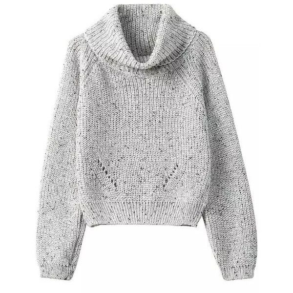 SheIn(sheinside) Grey High Neck Crop Knit Sweater (16.410 CLP ...