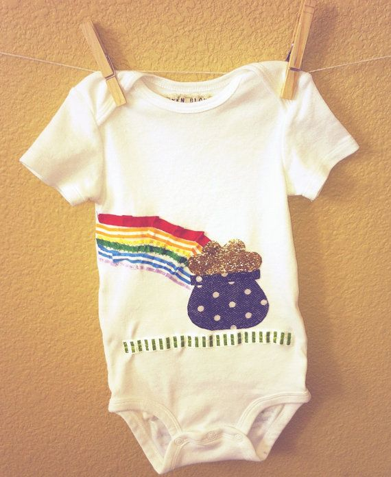 Baby Girl Onesie for St. Patrick's Day (rainbow ruffle bootie too!) :) $20