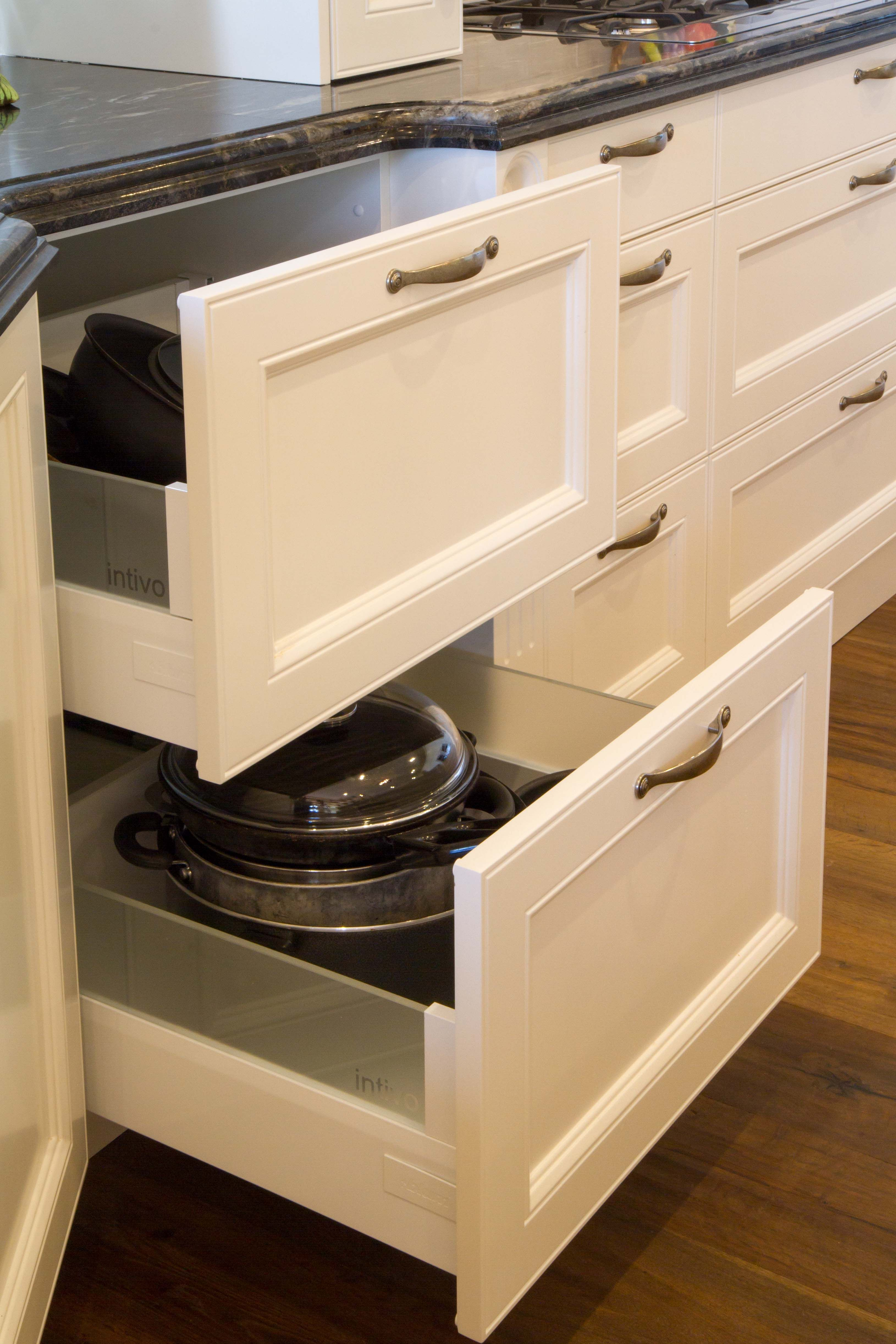 Large Pot Drawers In This Stunning Traditional Kitchen Www Thekitchendesigncentre Com Au Traditional Kitchen Vegetable Drawer Kitchen