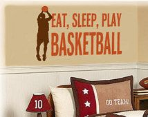 Eat, Sleep, Play, Basketball vinyl wall lettering decal with Basketball player silhouette vinyl wall decal - Choose two vinyl colors