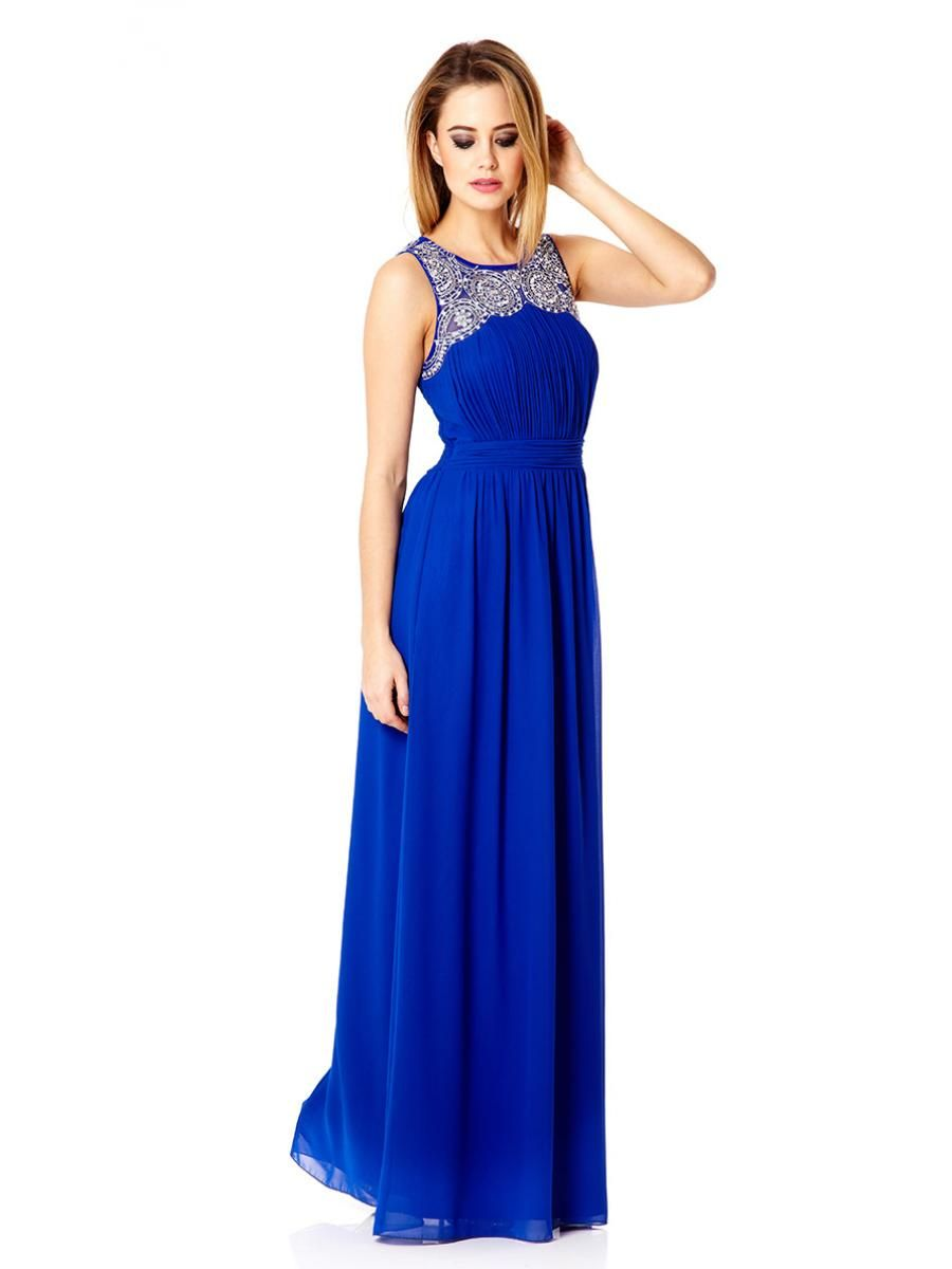 Royal Blue Diamante Chiffon Maxi Dress - Quiz Clothing  5de86ba1c
