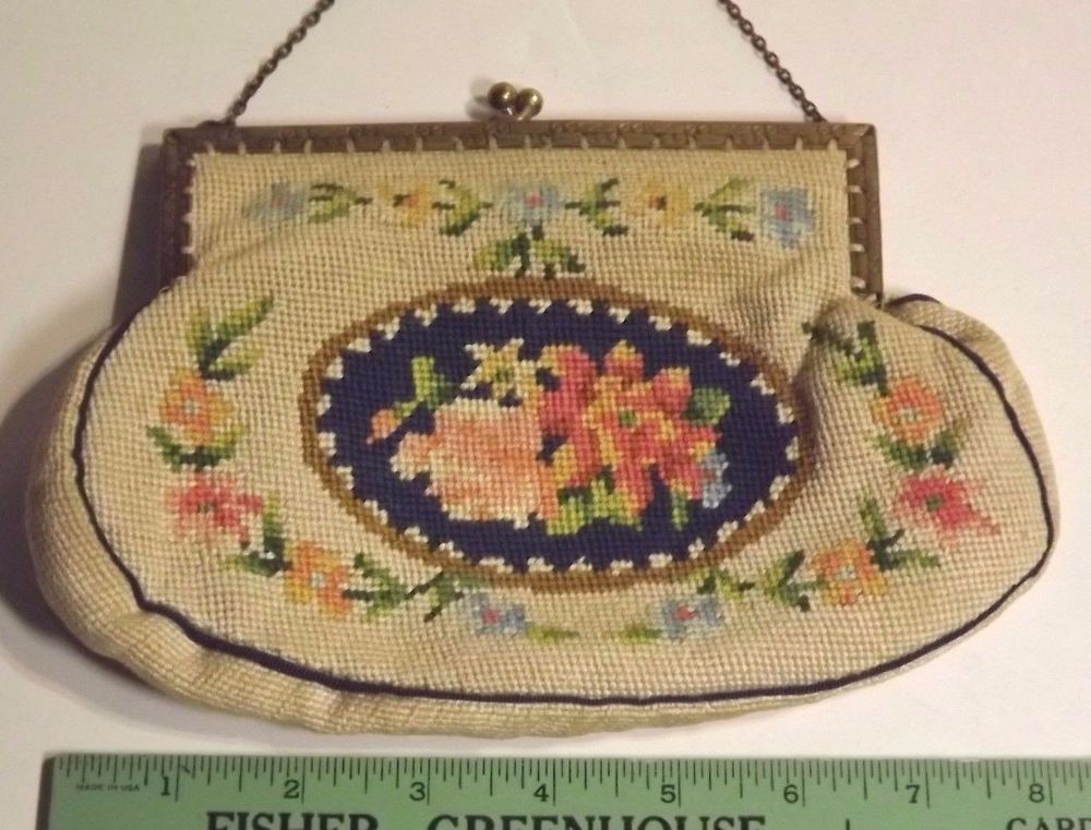 Vintage Needlepoint Purse WW2 Handbag Metal Frame Chain Handle Beige ...