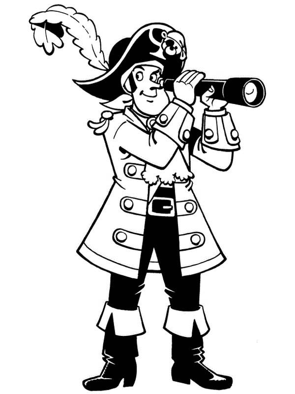 Piet Pirate Using Telescope Coloring Pages : Bulk Color in