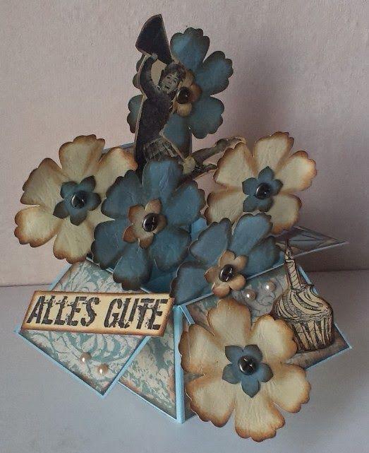 Mamapias Stempelecke: Card In A Box   Blumen Zum 40.