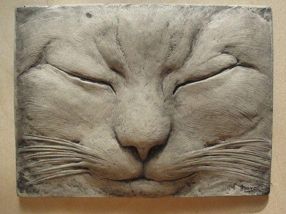 Max the sleeping cat wallsculpture pet portrait tabby cats