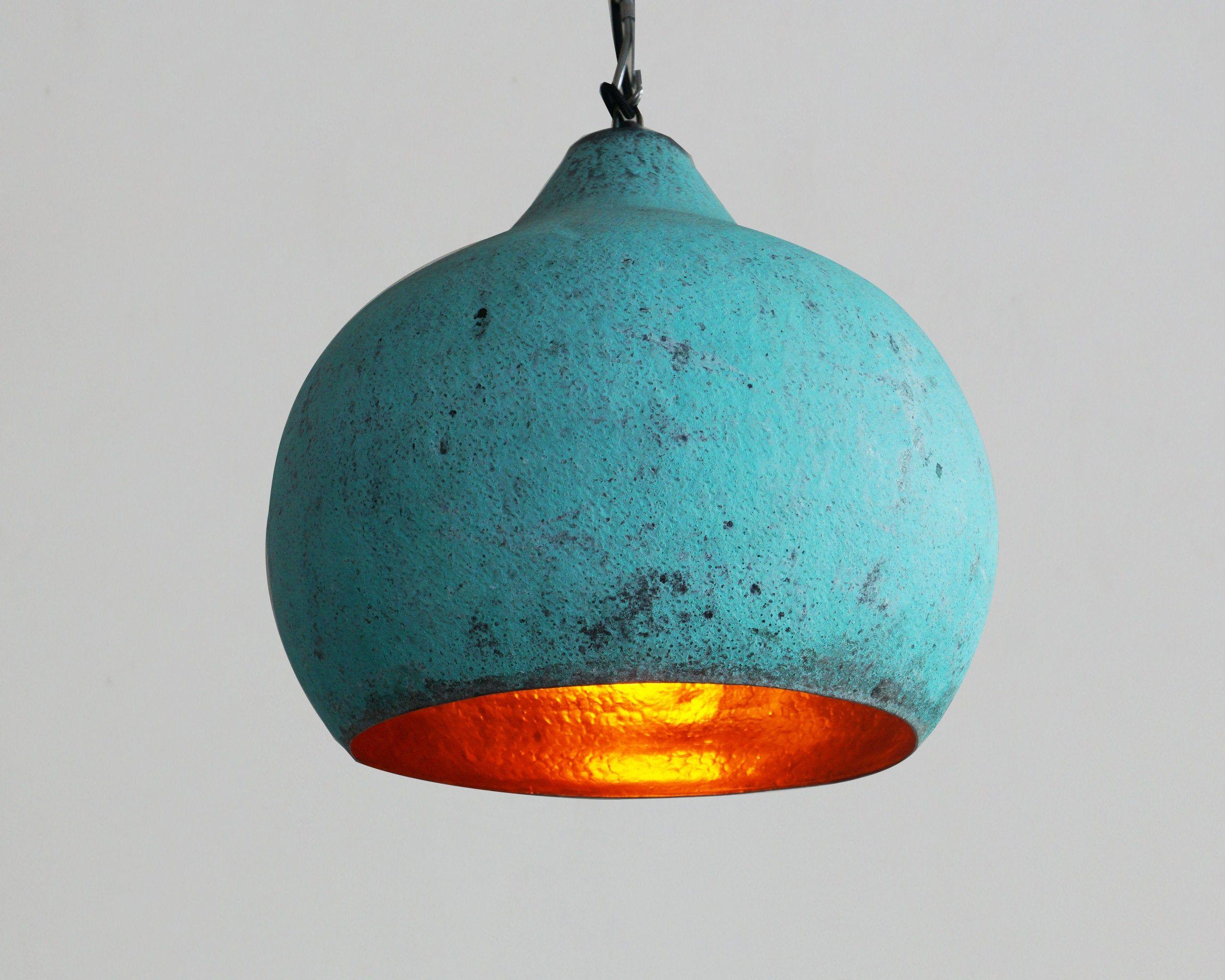 Green Patina Copper Pendant Light Oxidized Copper Kitchen Island Lighting Scandinavian Copper Copper Pendant Lamp Copper Pendant Lights Pendant Lamp Shade