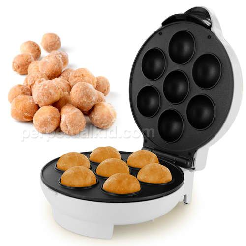 "DONUT HOLE MAKER  Bake delicious donut holes in minutes with our Donut Hole Maker!  Since these donuts are baked, it's a healthy and low-fat option to fried donuts.  Completely compatible with store bought ready-mix so it's extremely easy and safe to use, even for kids!  The Donut Hole Maker uses less electricity than conventional ovens. Non stick coating.  Includes recipes.  Was: $29.99  Now: $19.99  11"" long x 9.25"" wide x 6"" deep.    http://www.perpetualkid.com/donut-hole-maker.aspx"