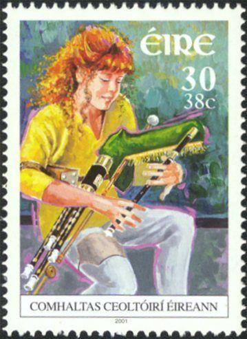 Irish Uilleann pipe. Irish stamp, dated 2001