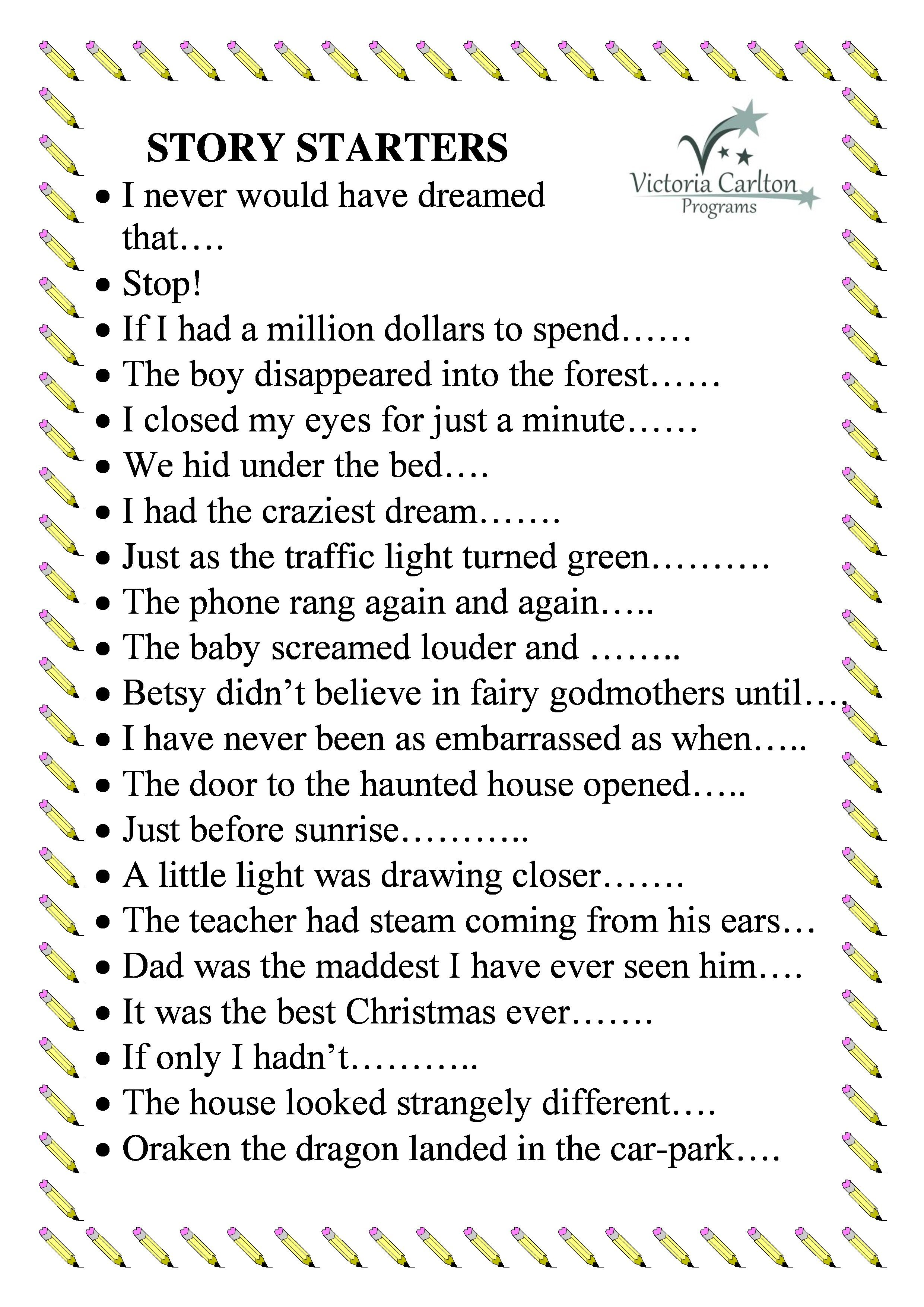 Image Result For Story Starters For Kids  Creative Writing  Image Result For Story Starters For Kids Presentation Skills Effective  Presentation Essay Writing