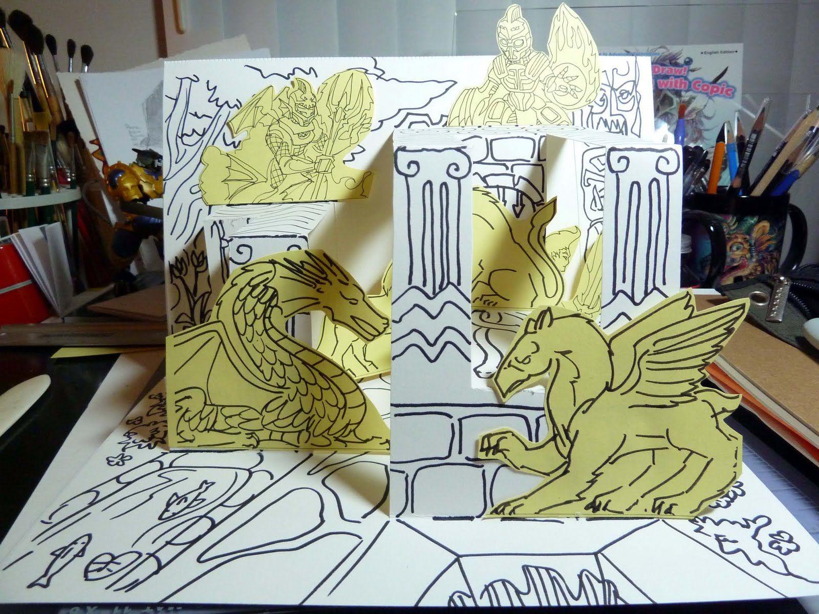 Kid Sketches Halloween And Fantasy Pop Up Diorama Cards Dioramas