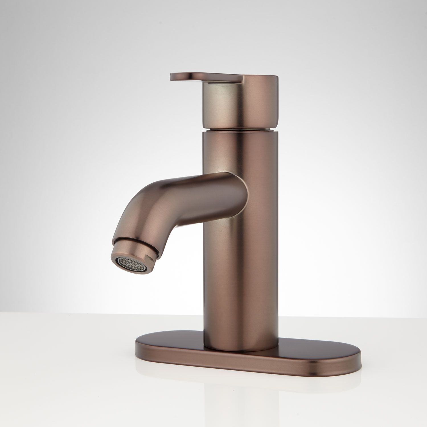 Wincott Single-Hole Bathroom Faucet with Deck Plate   Oil rubbed ...