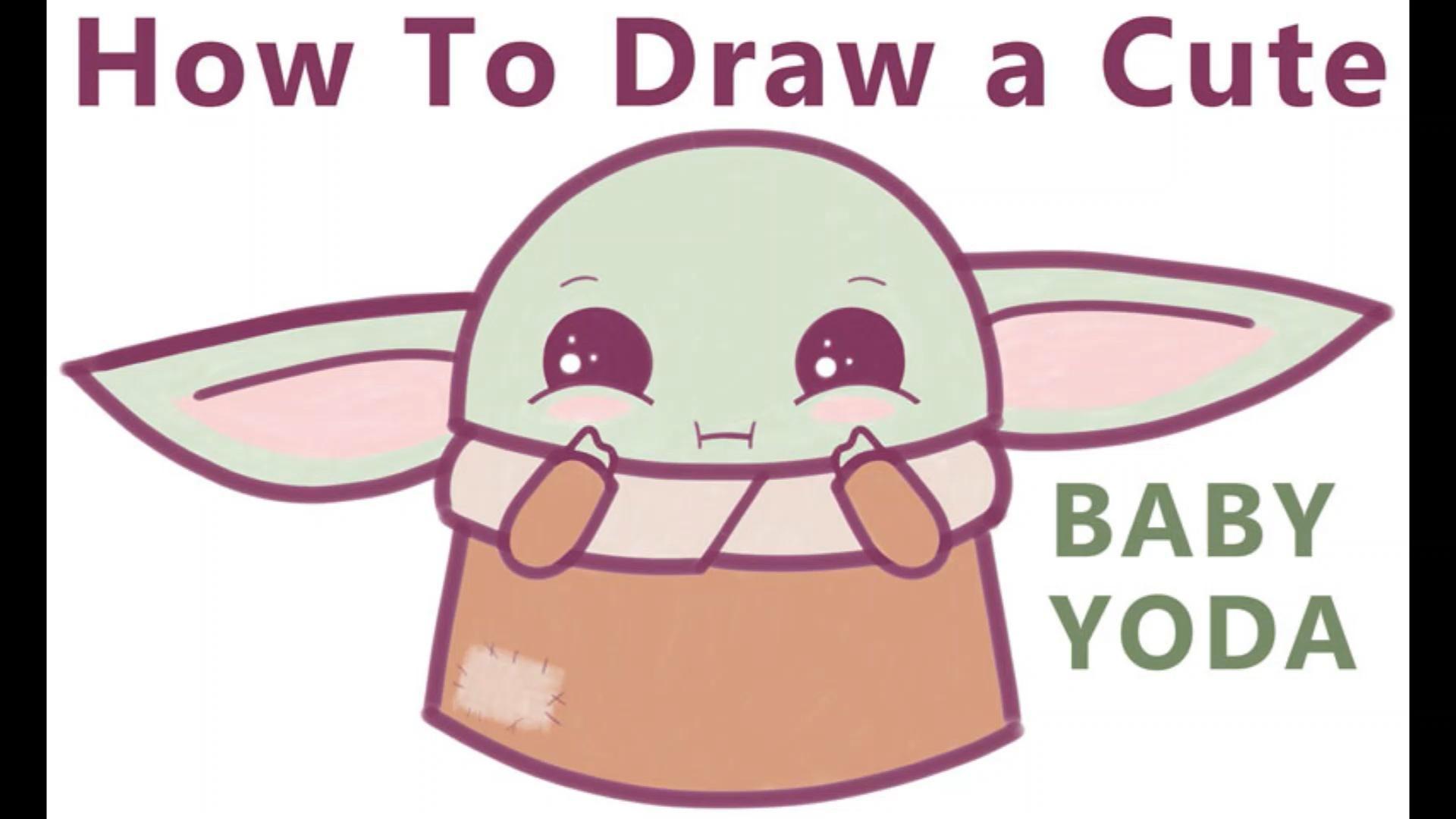 How To Draw A Cute Cartoon Baby Yoda Kawaii Chibi Easy Step By Step Drawing Tutorial How To Draw Step By Step Drawing Tutorials Video Video Cute Cartoon Drawings