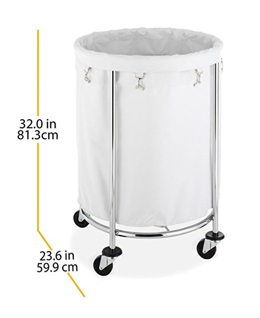 Amazon Com Whitmor Round Commercial Hamper White Chrome With