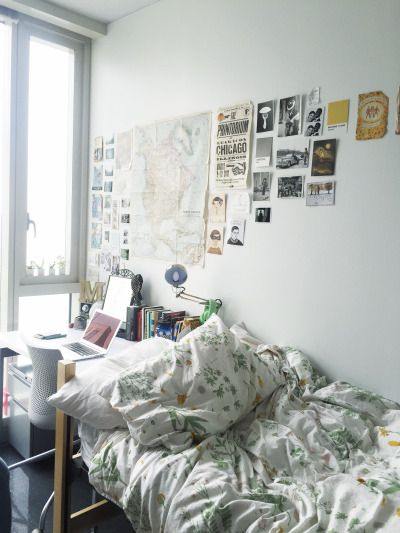 Put Desk Head Of Bed So Easy To Plug Things In Place Phone Water Bottle Close To Me Dorm Room Inspiration Room Inspiration Room Inspo