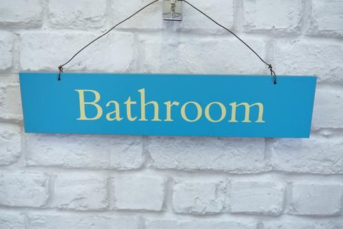 Blue Wooden Hanging Bathroom Sign £4.25 Blue Wooden Hanging Sign Saying U0027 Bathroomu0027 Great Way To Spruce Up A Bathroom Door! Approx. 40cm X 8cm