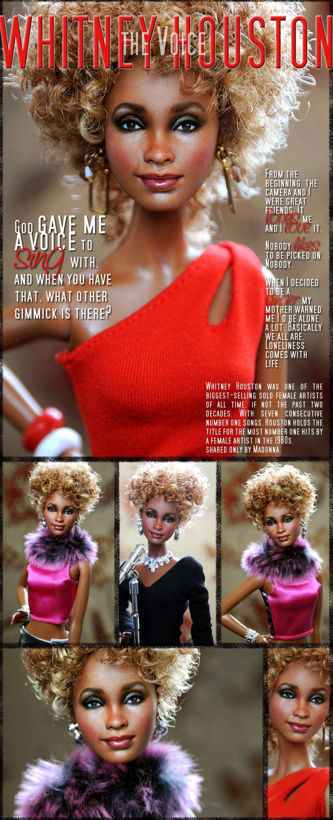 A Mattel Barbie becomes Whitney Houston (repainted and restyled Doll) by Noel Cruz of ncruz.com. Web Site and Graphics by stevemckinnis.com.