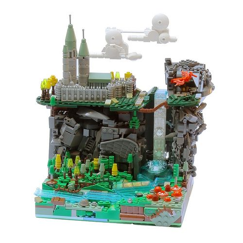 Super cool LEGO microscale castle ... I especially love the technique used to make the clouds and the land.