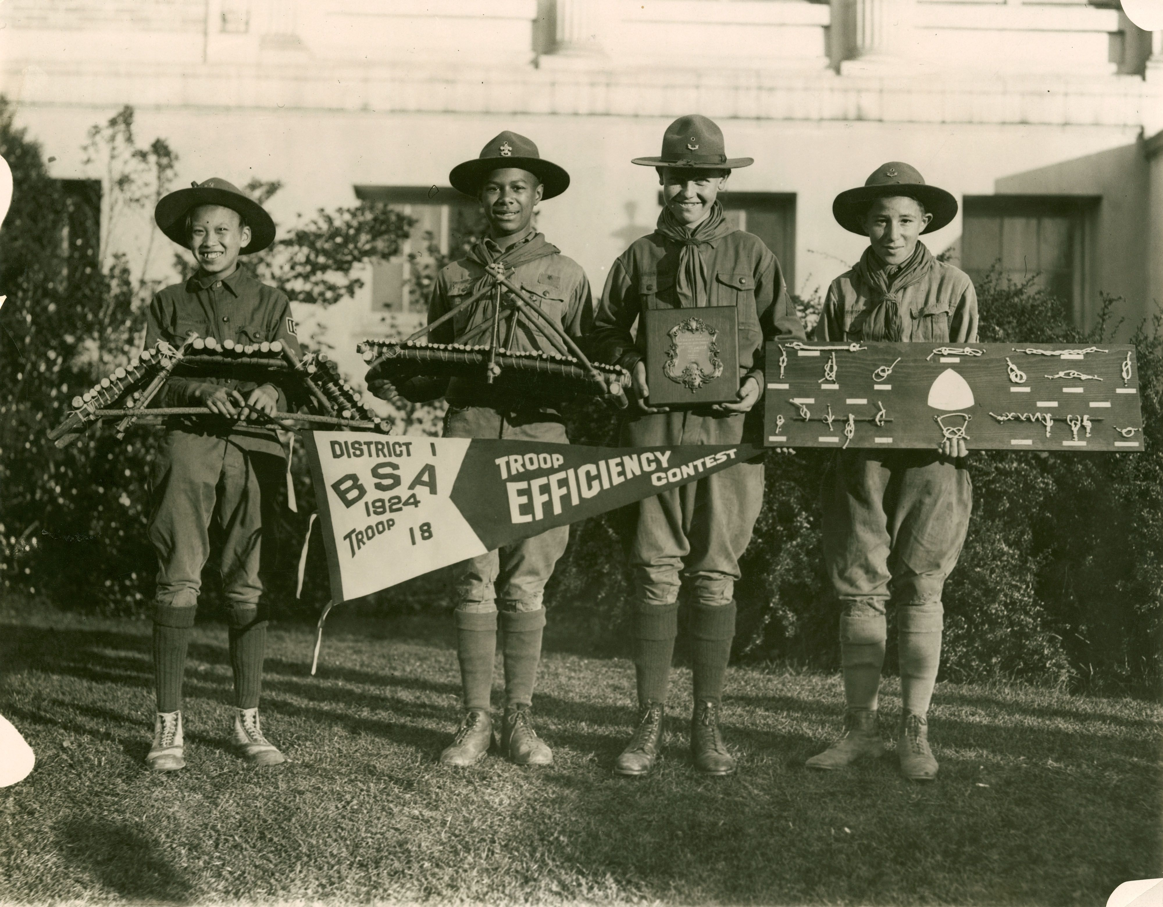 Black Boy Scouts display their winning projects, 1924