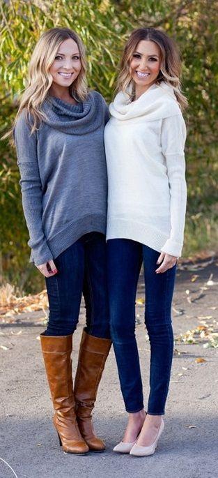 Lux Cowl Neck Sweaters  d0e01109e