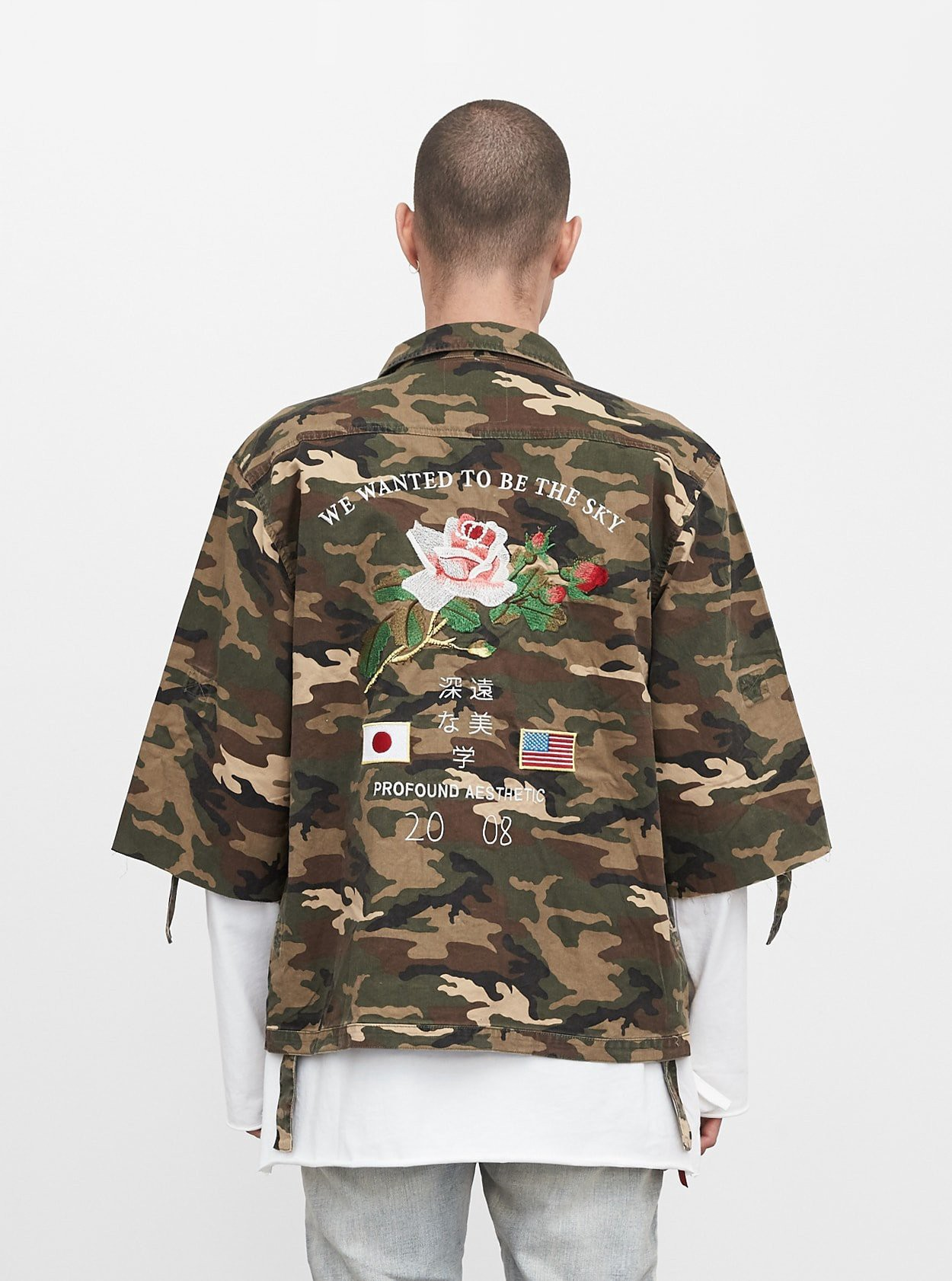 Profound Aesthetic ThreeQuarter Raw Sleeve Military Rose