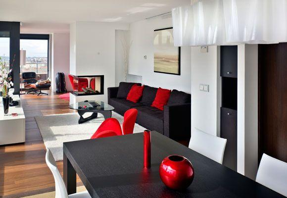 muebles blanco rojo y negro decoracion living negro rojo salas