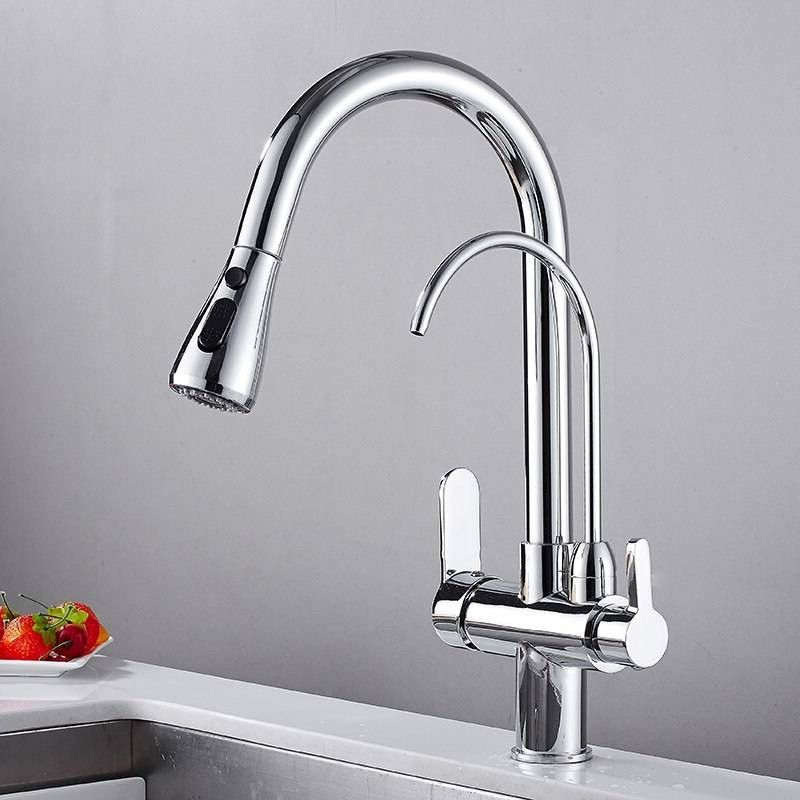 Ktaxon Modern Commercial Double Lever Pull Out Sprayer Kitchen Faucet High Arch Spring Pull Down Kitchen Sink Faucet Walmart Com Kitchen Faucet Faucet Extender Kitchen Faucet With Sprayer