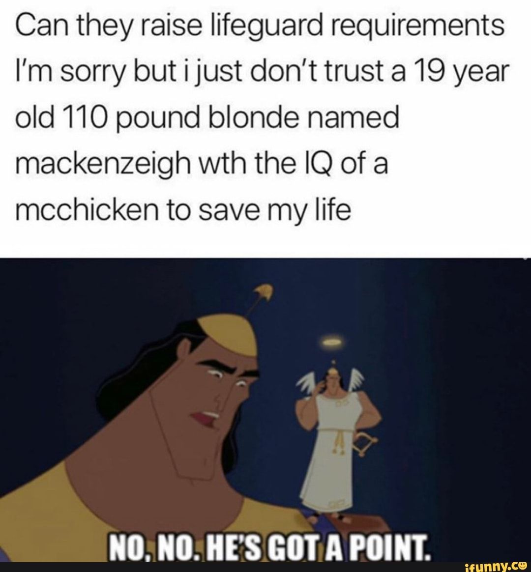 Can they raise lifeguard requirements I'm sorry but i just don't trust a 19 year old 110 pound blonde named mackenzeigh wth the IQ of a mcchicken to save my life - )