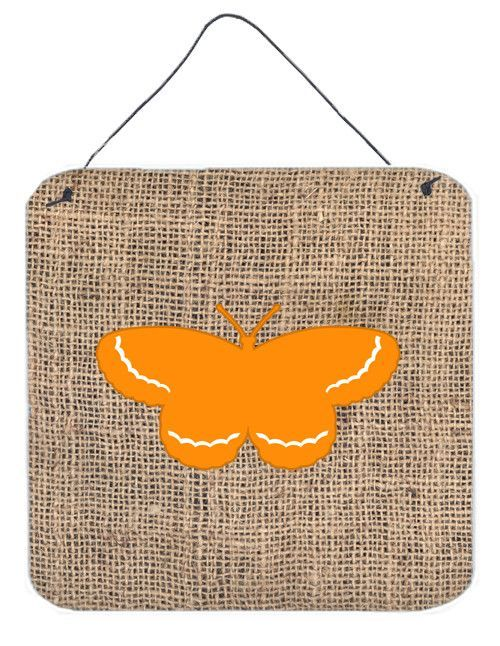 Butterfly Burlap and Orange Aluminium Metal Wall or Door Hanging Prints BB1040