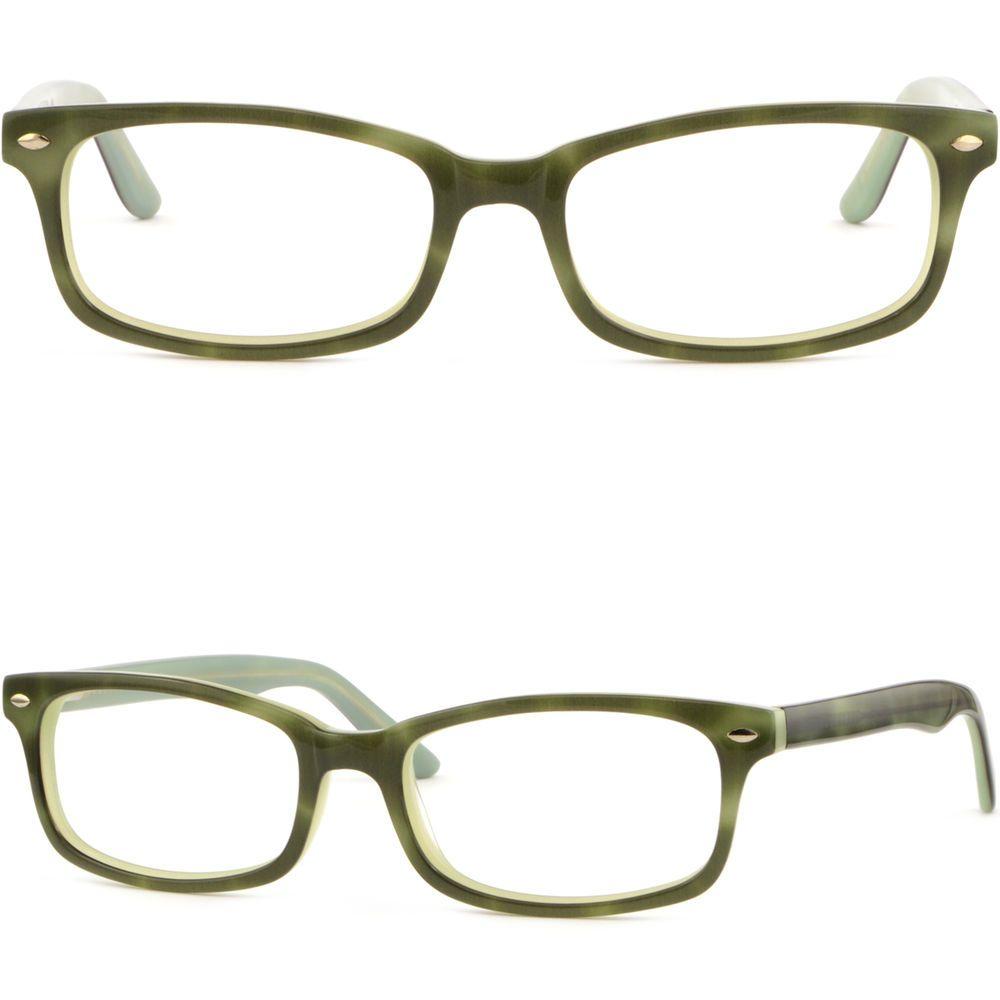 eea0afe3f55a Men Women Acetate Frame Spring Arms Prescription Glasses Silver Piece Dark  Green  Unbranded