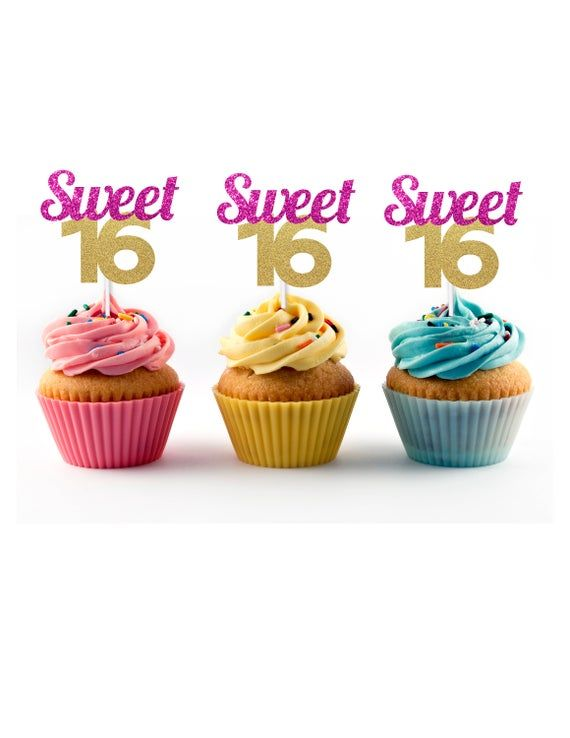 Sweet 16 Cupcake Toppers (12 count) in Pink and Gold Glitter - 16th Birthday Party, Decorations, Supplies, Sixteen, Sixteenth, Picks, Cake #sweet16cakes
